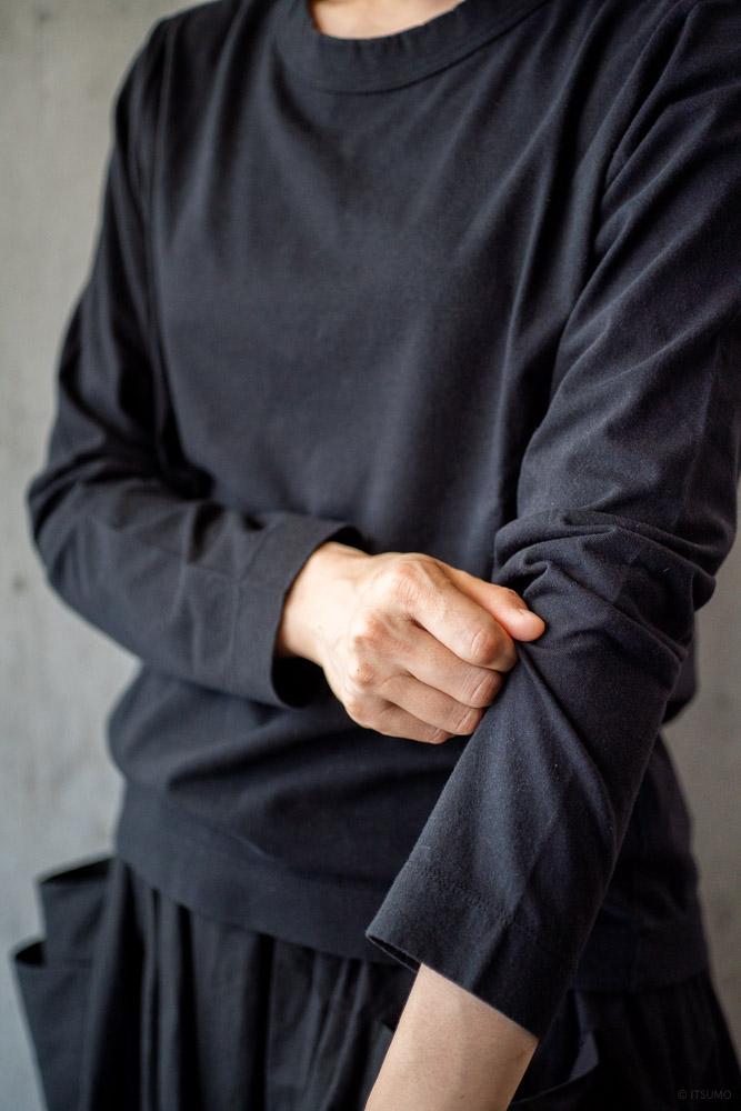 homspun-women's cotton long sleeve t-shirt-black-3