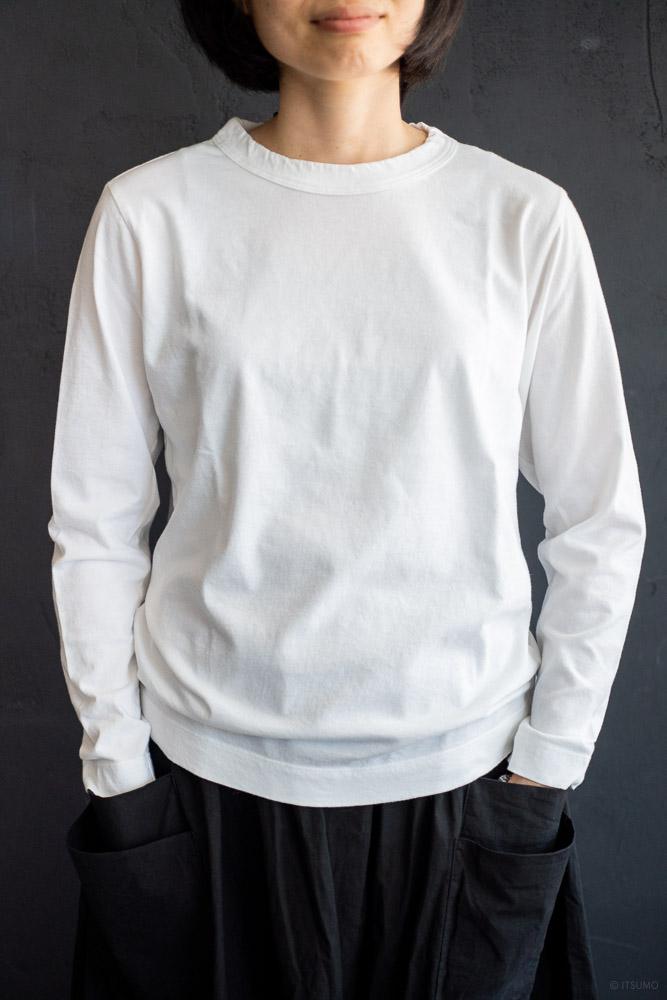 homspun-women's cotton long sleeve t-shirt-white-2