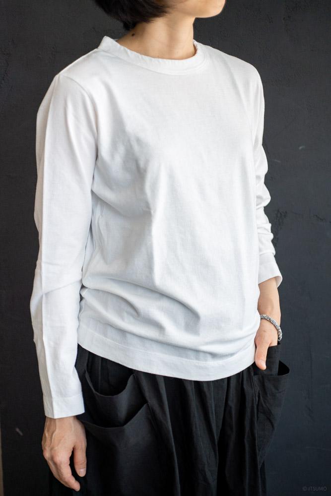 homspun-women's cotton long sleeve t-shirt-white-3