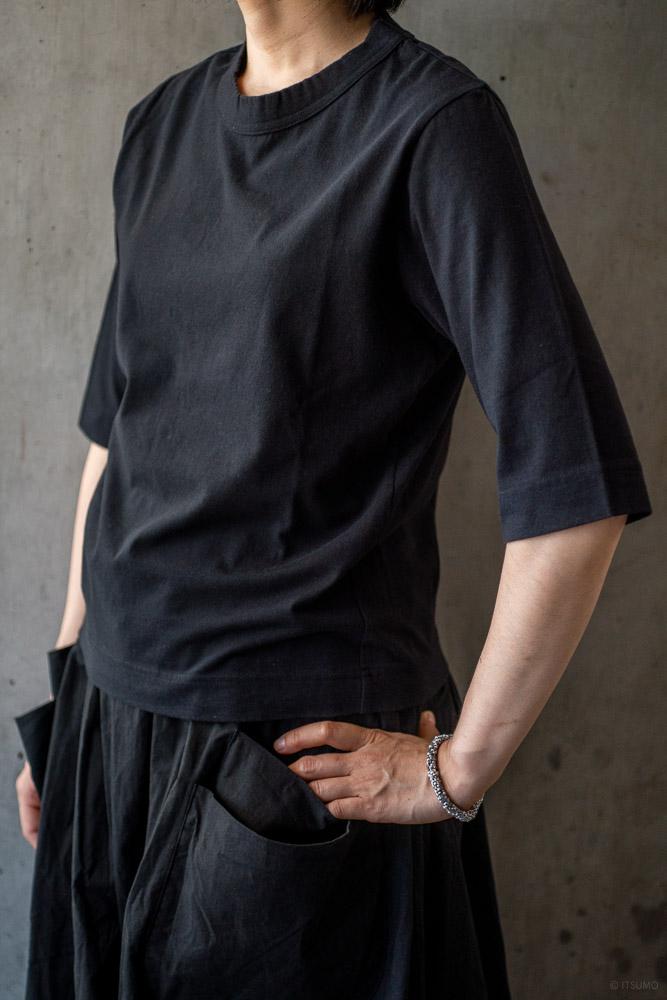 homspun-women's cotton half sleeve t-shirt-black-2