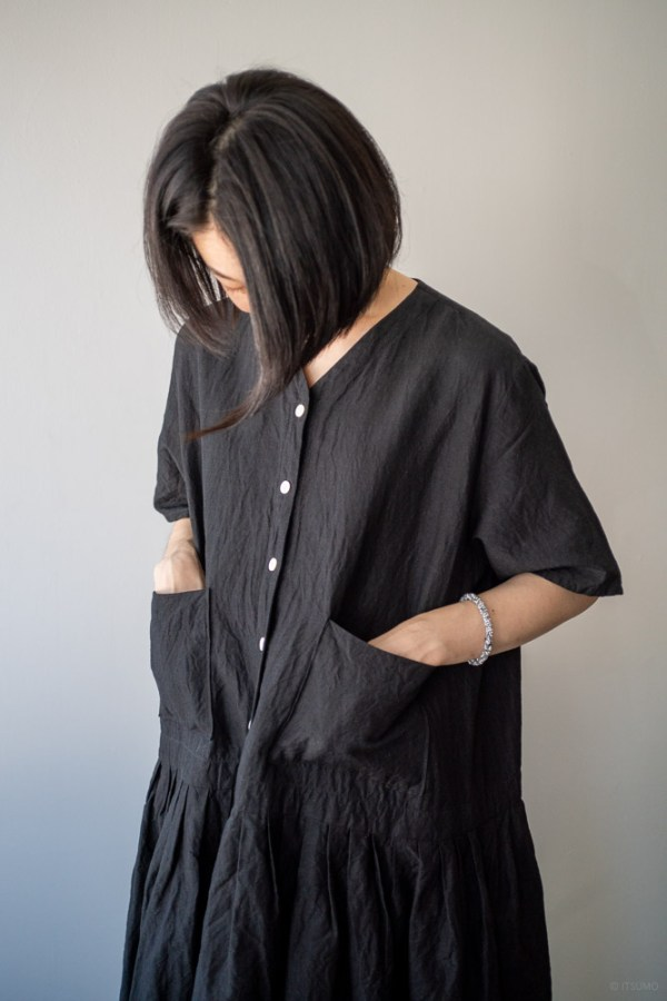 homspun-women's linen chambray wide dress-black