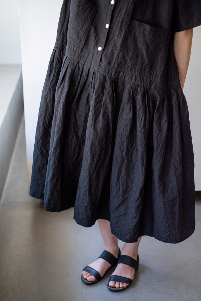 homspun-women's linen chambray wide dress-black-5