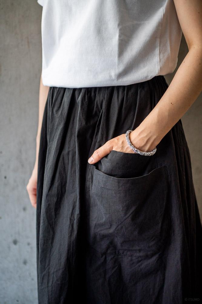 homspun-women's cotton double pocket long skirt-black-5
