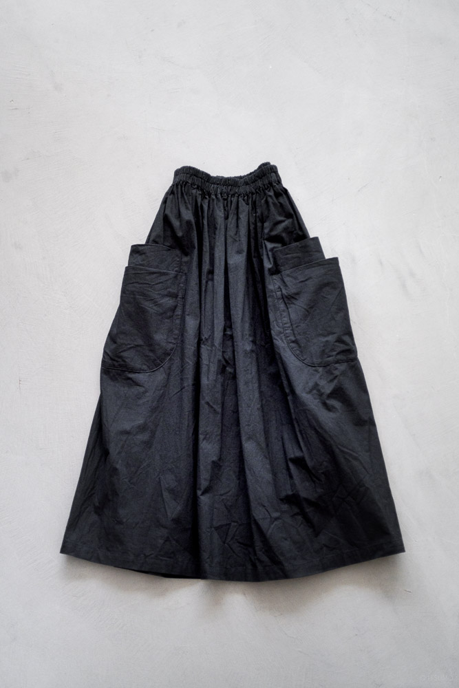 homspun-women's cotton double pocket long skirt-black-8