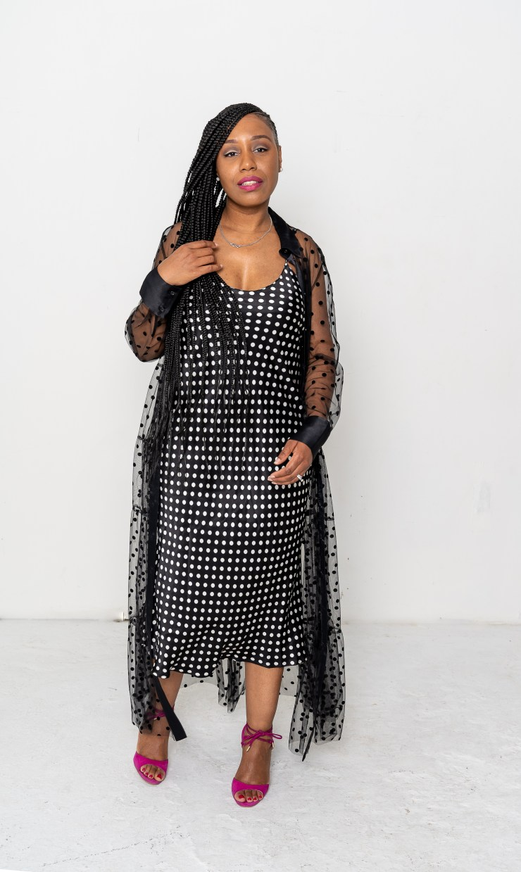 dress at Zara and the jacket at Shein.com