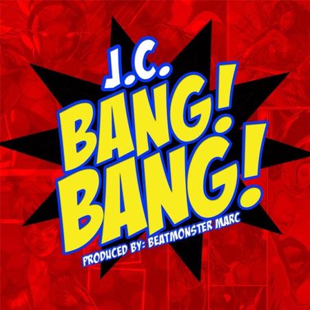 JC BANG BANG, album cover, comic style lettering