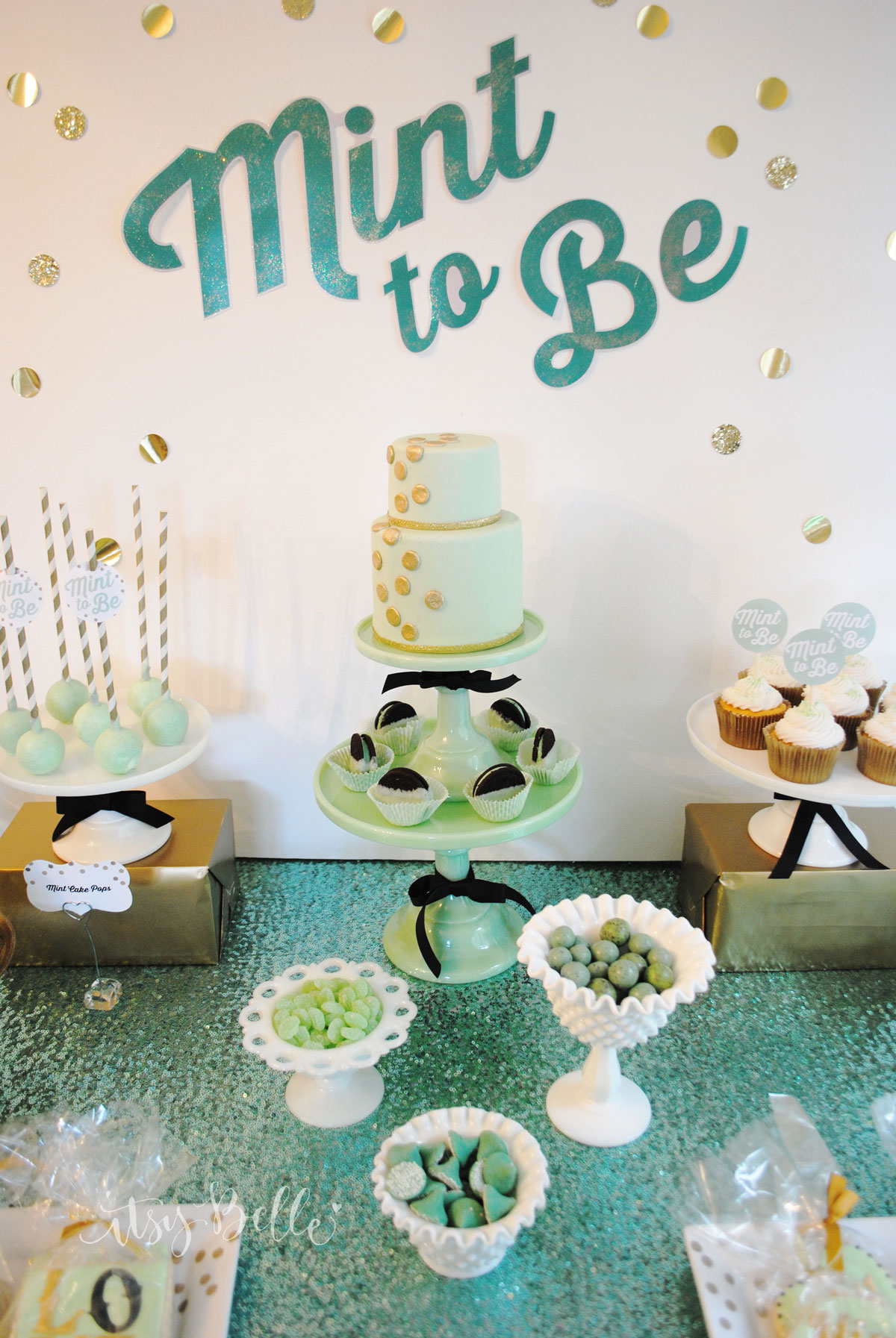 Mint To Be Bridal Shower Dessert Table Itsy Belleitsy Belle