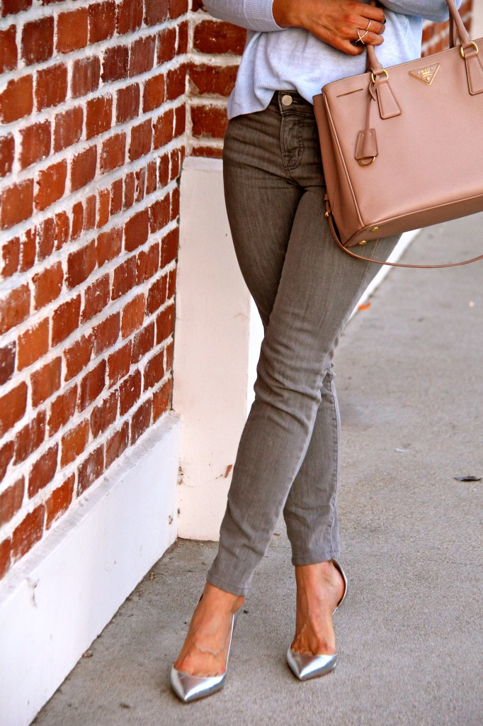silver d'orsay pumps, grey jeans