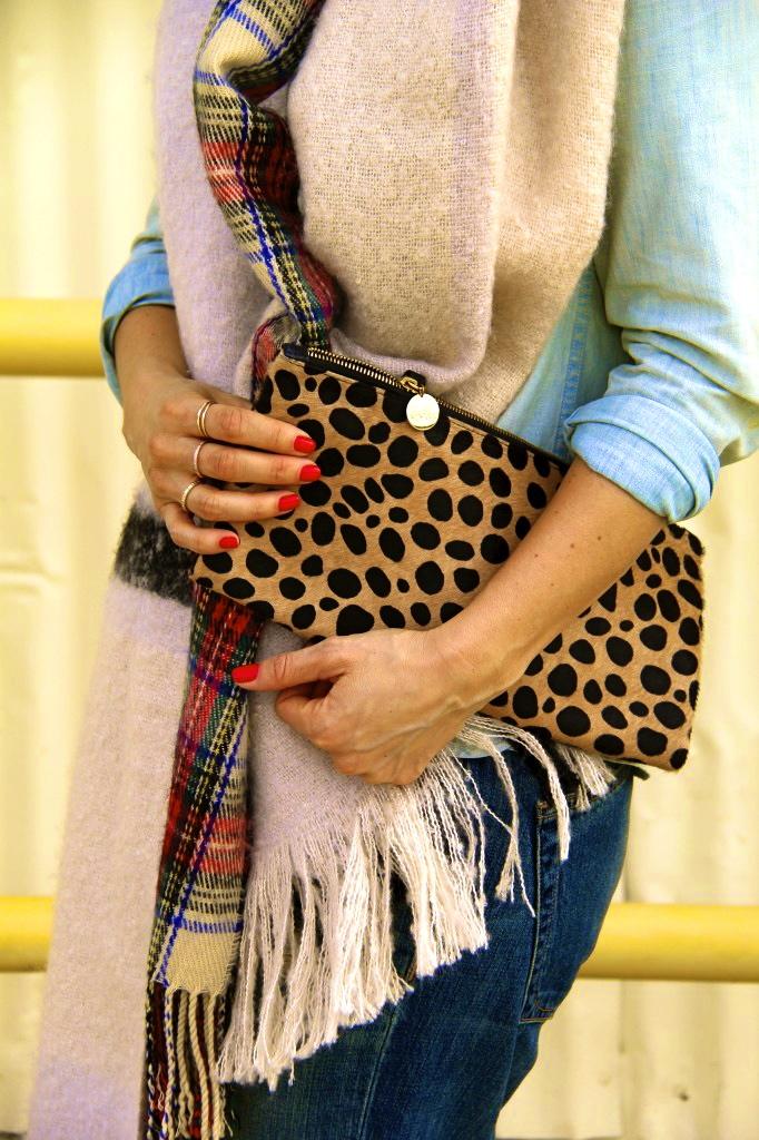 leopard clutch, blanket scarf