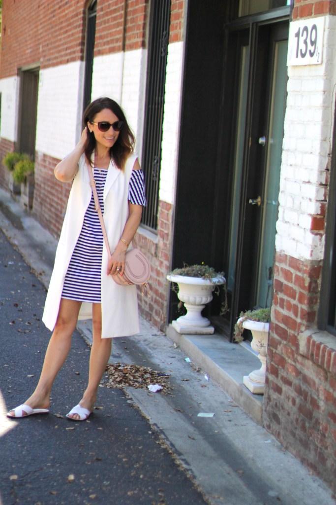 stripe dress, white vest, spring dressing, itsy bitsy indulgences