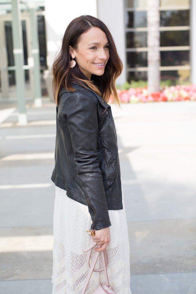 black leather jacket, white spring dress, itsy bitsy indulgences