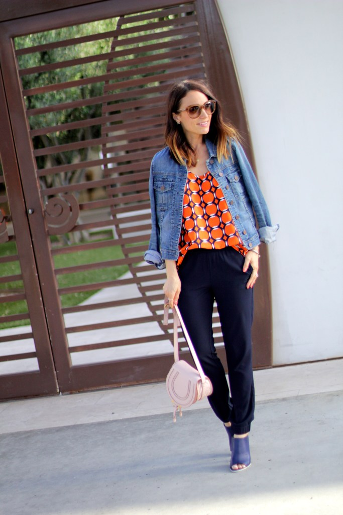 orange top, navy tack pants, itsy bitsy indulgences