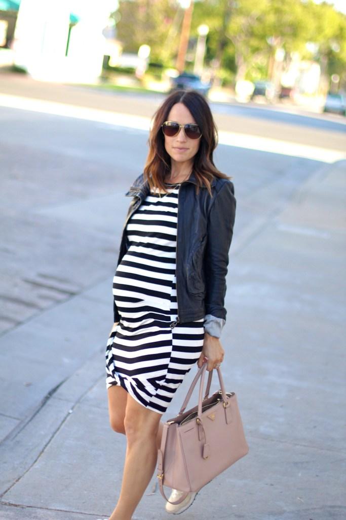 pregnancy style, stripe body con dress, itsy bitsy indulgences