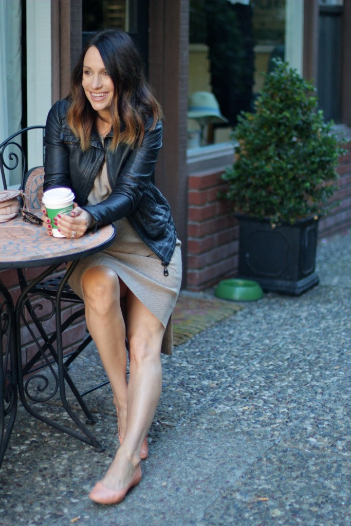 leather jacket with sweater dress, itsy bitsy indulgences