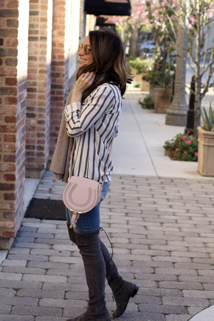 over the knee boots, striped top, itsy bitsy indulgences