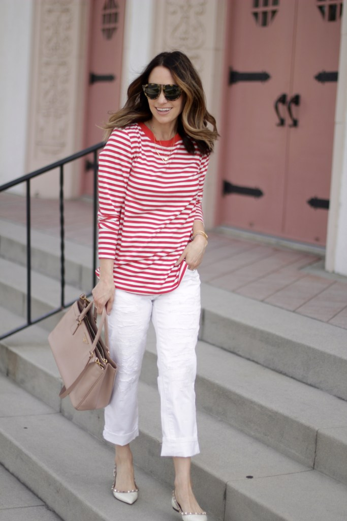 red stripe and white denim, itsy bitsy indulgences