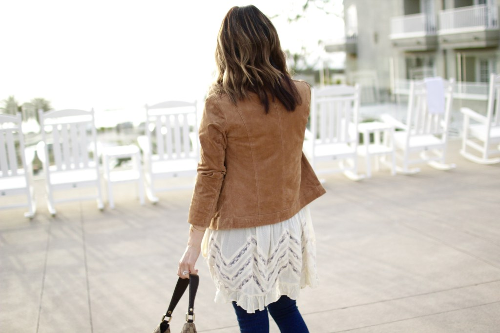 suede jacket, lace top, itsy bitsy indulgences
