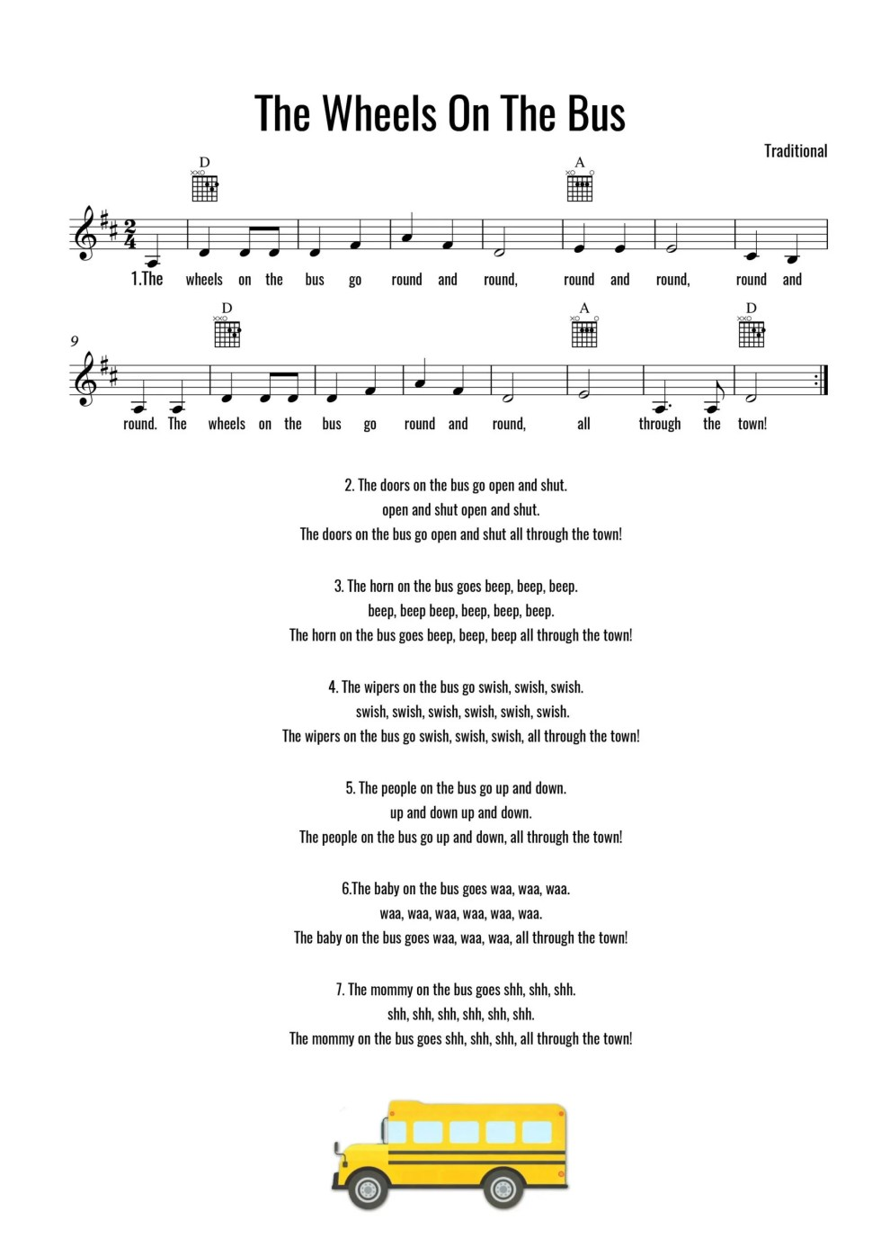 Wheels On The Bus Sheet Music With Chords And Lyrics