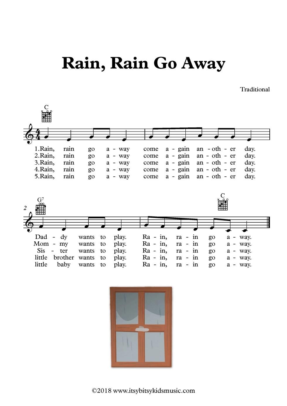 Rain Rain Go Away Song Sheet Music With Chords And Lyrics Itsy