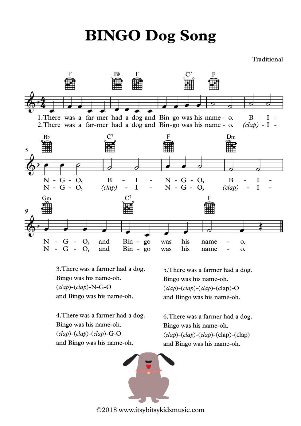 BINGO Dog Song Sheet Music With Chords And Lyrics