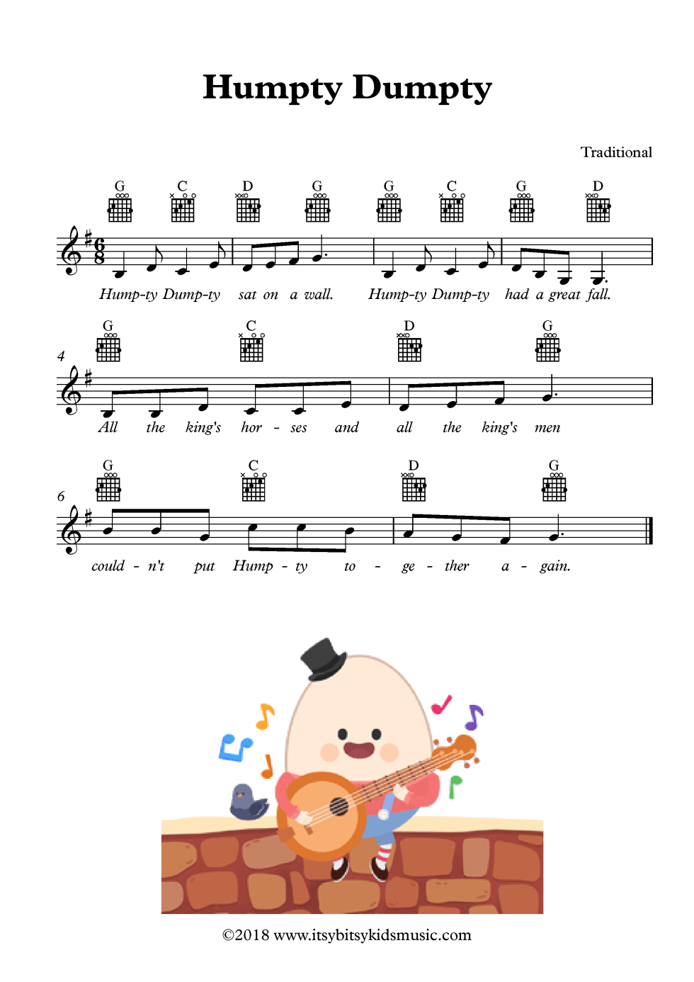 Humpty Dumpty sheet music with chords