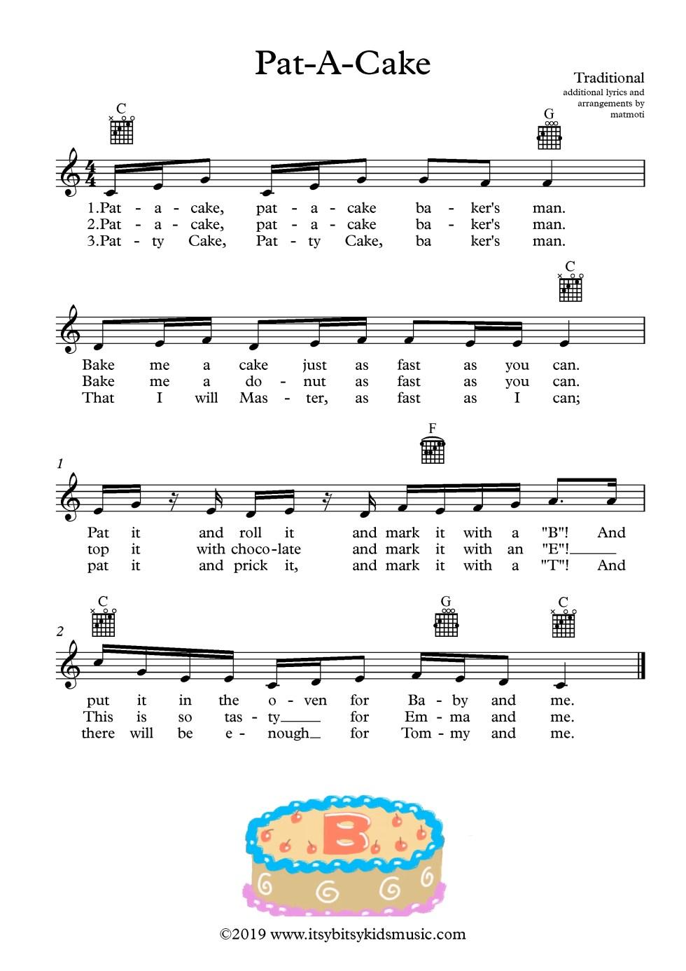 Pat-A-Cake Sheet Music With Guitar Chords And Lyrics