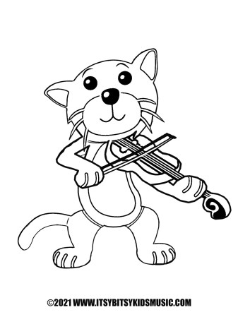 coloring page cat wit fiddle in pdf for free