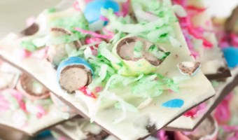 Coconut-Malt Easter Egg Chocolate Bark