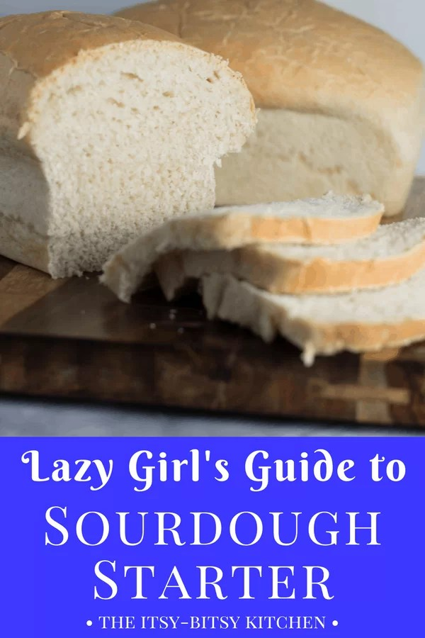 This lazy girl's guide to baking with sourdough provides all your sourdough starter how-tos and can answer all those questions about sourdough bread. recipe via itsybitsykitchen.com #sourdough #sourdoughstarter #bread