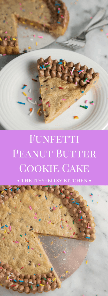 This funfetti peanut butter cookie cake (with plenty of chocolate) is a delicious and simple way to celebrate any occasion, or just a regular old Thursday.