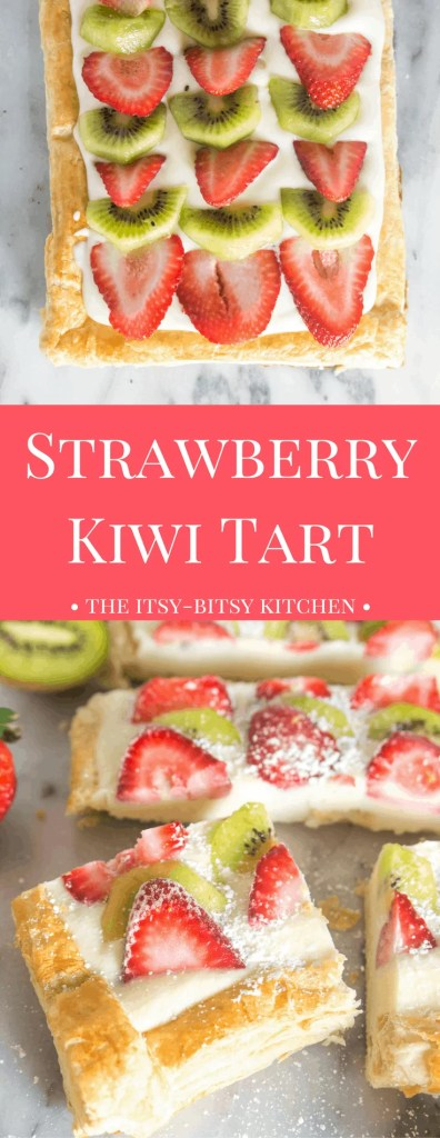 With a puff pastry crust, a delicious vanilla pastry cream filling, and plenty of fruit on top, this strawberry kiwi tart is a delicious summer dessert!