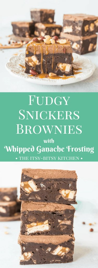 You have to check out this recipe for fudgy Snickers brownies with whipped ganache frosting. They're decadent, rich, and they're the most fudgy #brownies EVER! #chocolate