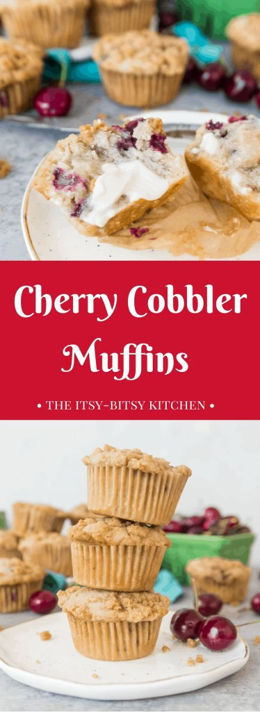 With their crunchy crumb topping, these cherry cobbler muffins are like a dessert you can eat for breakfast! Perfect breakfast or brunch food. You'll make this recipe again and again!