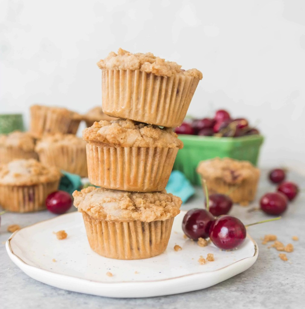 With their crunchy crumb topping, these cherry cobbler muffins are like a dessert you can eat for breakfast or brunch! Perfect breakfast or brunch food. You'll make this recipe again and again!