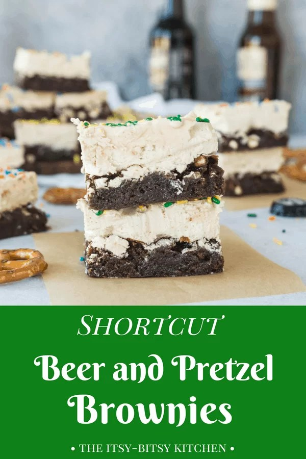 Be the star of your next football party with these shortcut beer + pretzel brownies. They're perfect tailgating food! Recipe via itsybitsykitchen.com #tailgater #superbowlfood #superbowl #chocolate #brownies