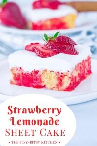 Pinterest image for strawberry lemonade sheet cake