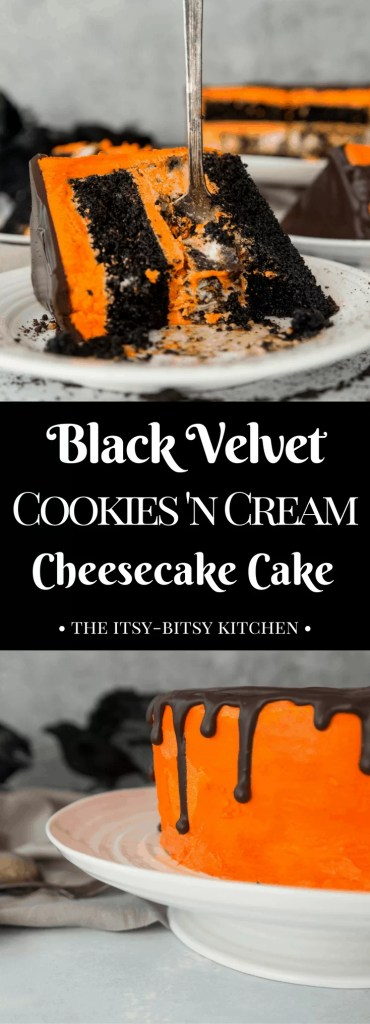 Pinterest image for black velvet cookies and cream cheesecake cake with text overlay