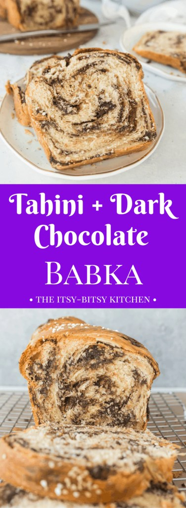 Homemade tahini + dark chocolate babka makes a delicious breakfast or snack, and is made easier with the help of a food processor. recipe via itsybitsykitchen.com #babka #chocolate #breakfast