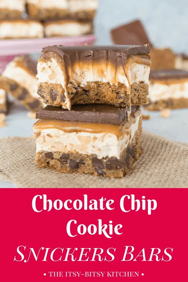 Chocolate chip cookie Snickers bars are a delicious hybrid of the classic cookie and delicious candy bar.  You need these homemade treats in your life! recipe via itsybitsykitchen.com #cookies #chocolate #cookiebars #snickers #homemade