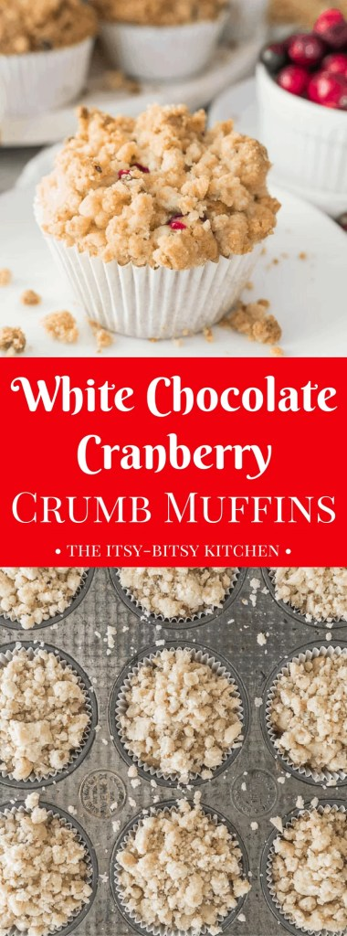 White chocolate cranberry crumb muffins are a taste of the holidays, and the best breakfast ever this time of year! recipe via itsybitsykitchen.com #crumbmuffins #breakfast #Christmas