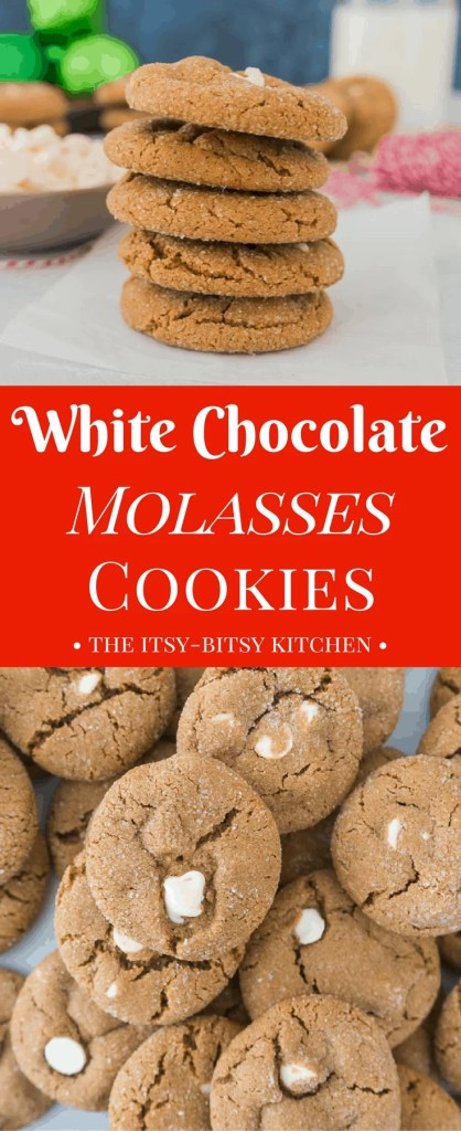 These white chocolate molasses cookies are chewy, full of holiday spices, and they make a delicious addition to your Christmas cookie trays. recipe via itsybitsykitchen.com #molassescookies #cookies #Christmascookies