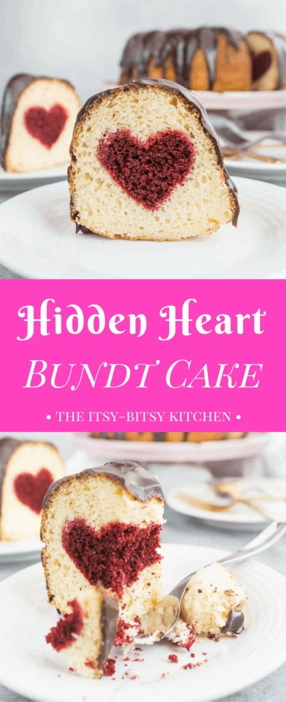 Pinterest image for hidden heart bundt cake with text overlay