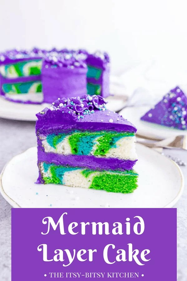 Pinterest image of a slice of mermaid cake sitting on a plate with the cake behind it