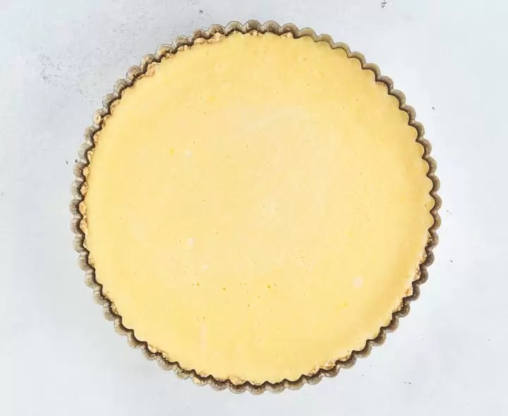 overhead shot of the lemon tart after it came out of the oven