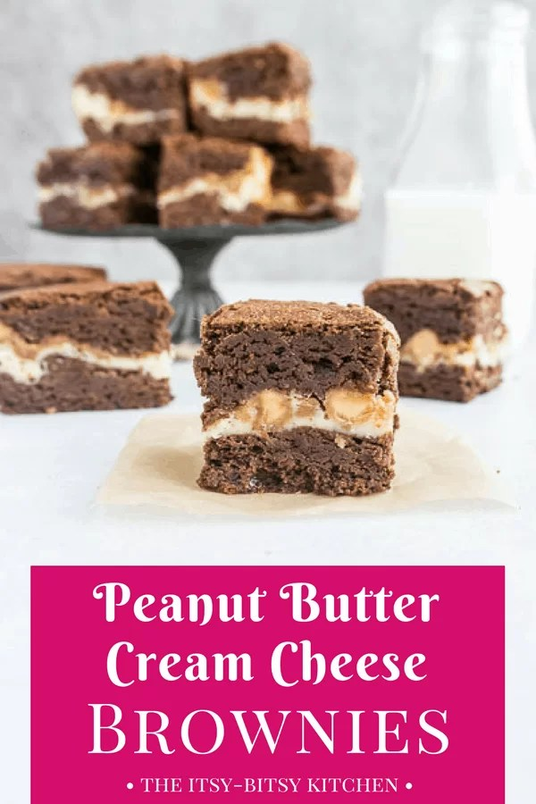Pinterest image of peanut butter cream cheese brownies with text overlay on a pink background