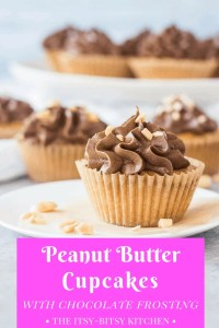 Pinterest image for peanut butter cupcakes with chocolate frosting with text overlay