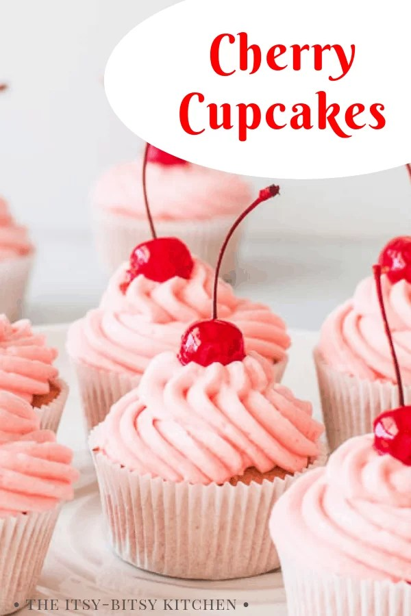 pin image for cherry cupcakes with text