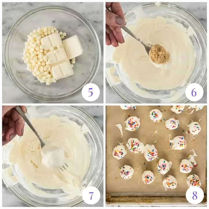 how to dip white choc peanut butter balls