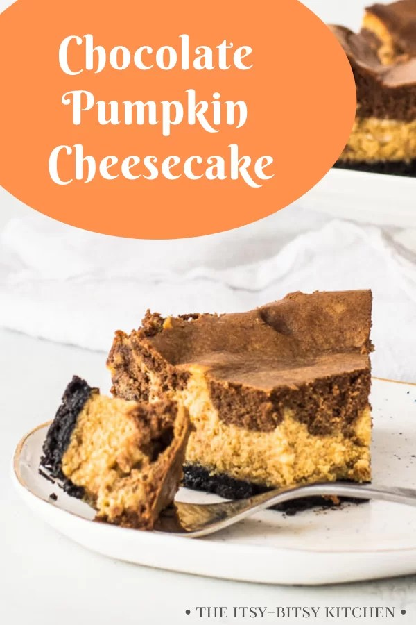 Pinterest image for chocolate pumpkin cheesecake
