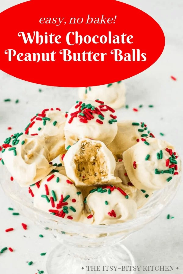 pin image for peanut butter balls with Christmas sprinkles